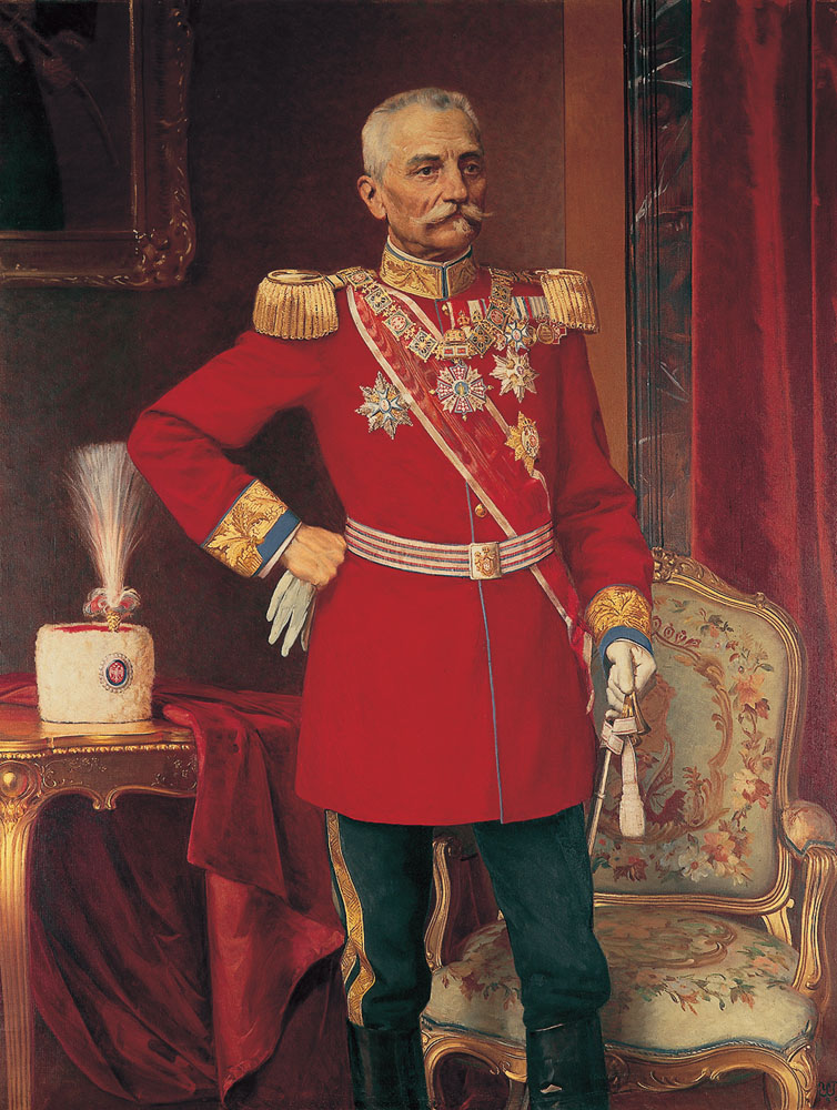 HM King Peter I in formal uniform of an Army General, oil on canvas by Uros Predic