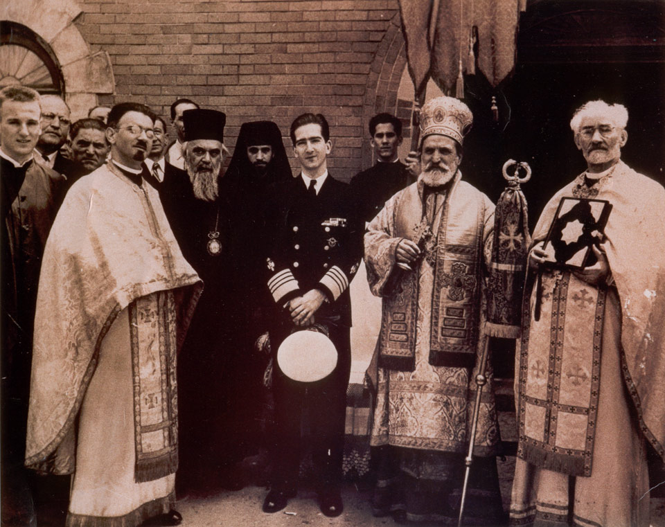 HM King Peter II with Bishop Nikolaj of Ohrid and Zica and Bishop Dionisije of America and Canada