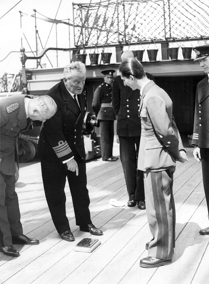 HM King Peter II visiting the naval base Scapa Flow, accompanied by Amiral Fraser