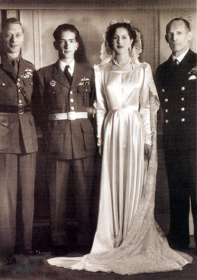 Wedding photograph with best men King George VI and Greek King George II