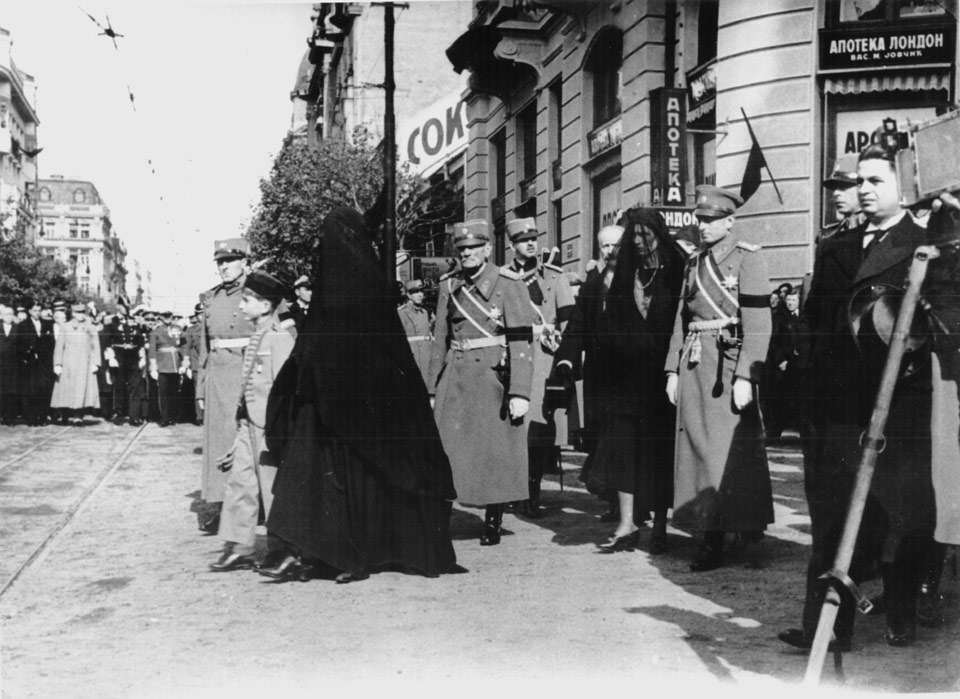 The funeral of HM King Alexander I (procession led by HM King Peter II, HM Queen Maria, TRH Prince Arsen, Princess Olga, Prince Paul