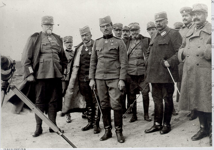 HRH Regent Alexander and Field Marshal Misic visiting Italian troops on Thessaloniki Front
