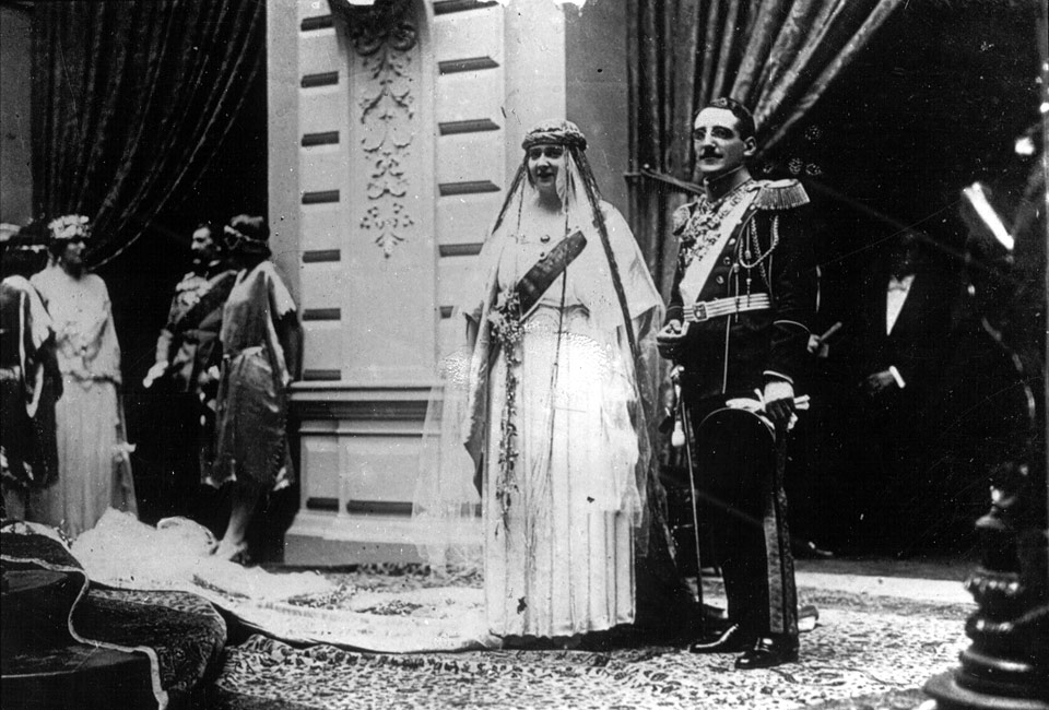TM King Alexander I and Queen Maria on their wedding day, 8 July 1922