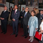 HRH Crown Prince Alexander, HRH Crown Prince Haakon of Norway, HE Mr Nils Ragnar Kamswag, ambassador of Kingdom of Norway and HRH Crown Princess Katherine at the Holy Archangel Gabriel Monastery in Zemun