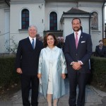 TRH Crown Prince Alexander, Crown Princess Katherine and Crown Prince Haakon of Norway in front of the Holy Archangel Gabriel Monastery in Zemun