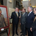 Left to right: Mr. Dragomir Acović, chairman of the Crown Council, Mr. Predrag Markovic, member of the Crown Council, HRH Crown Prince Alexander and Mr. Darko Spasic, a member of the Crown Council in front of the portrait of HM King Alexander I