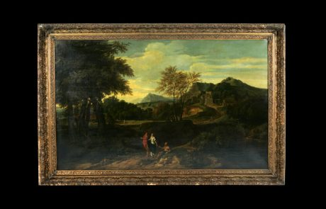 Landscape with Antique Figures and Beggar, Jean Francois Millet, c.1660