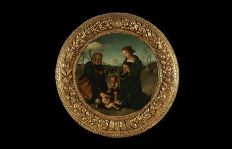 Sveta Porodica sa malim Svetim Jovanom, Maestro di Tondo Kampano, oko 1500.