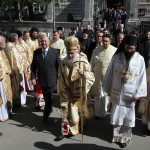 Crown Prince Alexander, His Holiness Patriarch Irinej and His Grace Bishop Arsenius in front of Serbian Patriarchate