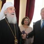 His Holiness Serbian Patriarch Irinej,  HRH Crown Princess Katherine and Crown Prince Alexander