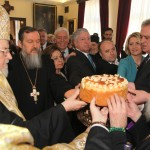 His Holiness Serbian Patriarch Irinej, His Grace Bishop of Sabac Lavrentije, HRH Crown Princess Katherine, HRH Crown Prince Alexander, Mrs. Dragica Nikolic and HE Tomislav Nikolic, President of Serbia