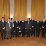 HRH Crown Prince Alexander II with the members of the Crown Council. From left to right: Mr. Dusan Babac, Professor Slobodan Markovic, Prof. Slobodan Perovic, Mr. Darko Spasic, Prof. Dragoljub Kavran, HRH Crown Prince Alexander, academician Matija Beckovic, Mr. Djordje Djurisic, Mr. Djurdje Ninkovic, Mr. Dragomir Acovic, Mr. Vladan Vukosavljevic