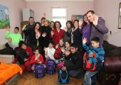 HRH Crown Princess Katherine, Mrs Kathy Fanslow, President of the Lifeline Chicago Humanitarian Organization and Ms Tracy Armstrong with children at the Shelter
