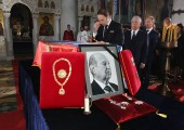 HRH Prince Dusan near the catafalque of his father late Prince Alexander