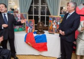 Professor Nadey Hakim's gift, portrait sculpture, to HRH Crown Prince Alexander