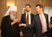 His Holiness Serbian Patriarch Irinej with TRH Prince Peter and Prince Philip