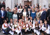 The Royal family with His Holiness Patriarch Irinej, HRH Princess Maria da Gloria of Orleans and Bragança and Her Majesty Queen Sophia of Spain