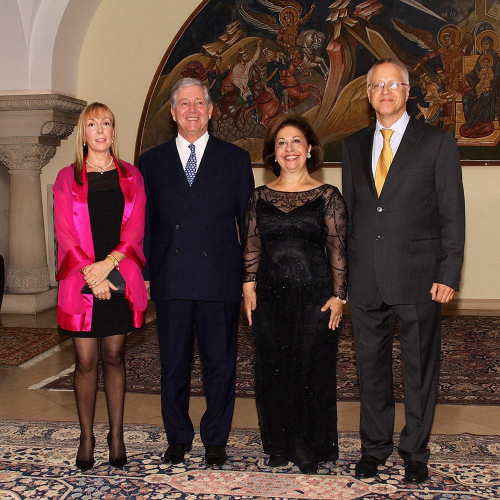 HRH Princess Lavinia (daughter of Prince Andrej) HRH Crown Prince Alexander, HRH Crown Princess Katherine and Mr Austin Prichard-Levy