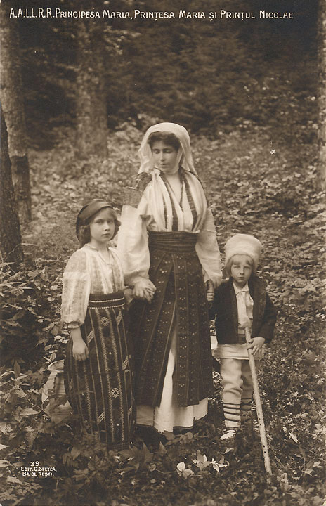 HM Queen Maria as a child with mother and brother
