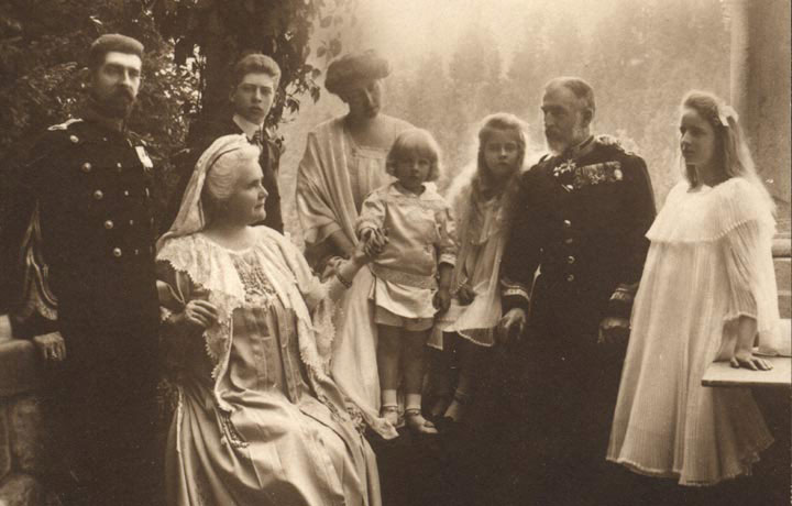 HM Queen Maria as a child with the Romanian Royal Family