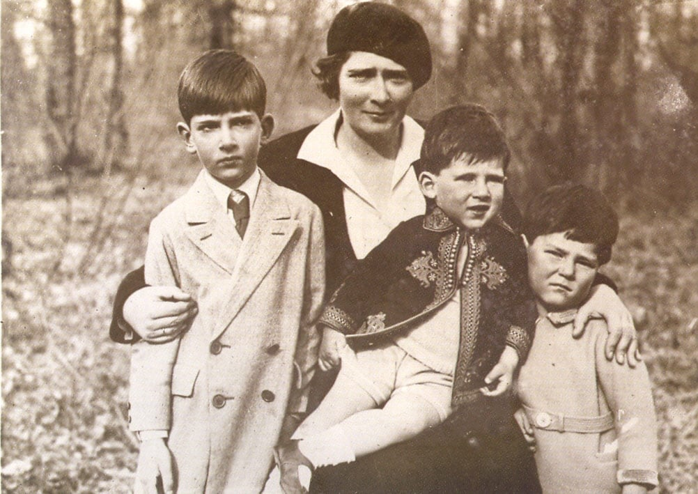 HM Queen Maria with sons TRH Crown Prince Peter, Prince Andrej and Prince