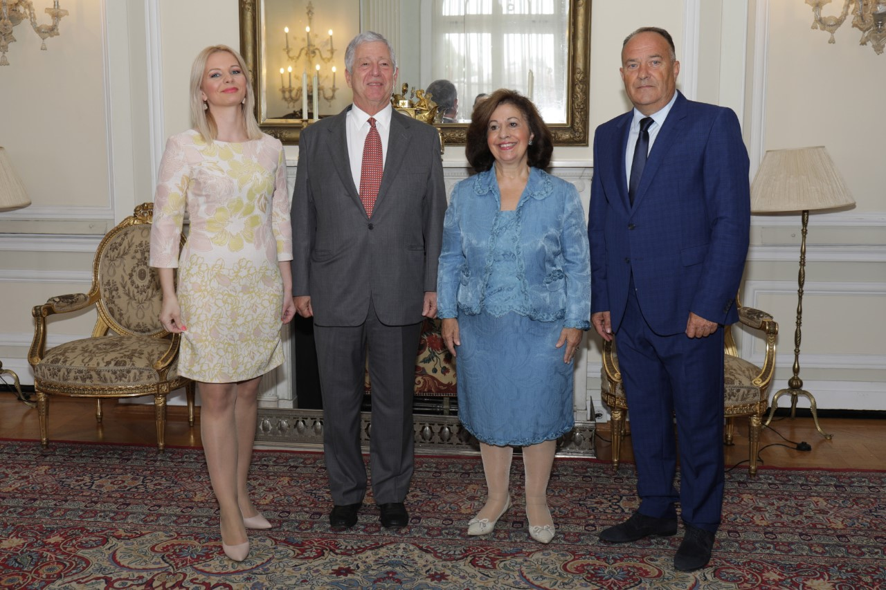 HRH Crown Prince Alexander and Crown Princess Katherine with the Minister of Education of the Republic of Serbia HE Mr Mladen Sarcevic and the Minister of Education and Culture of Republika Srpska, HE Mrs Natalija Trivic.