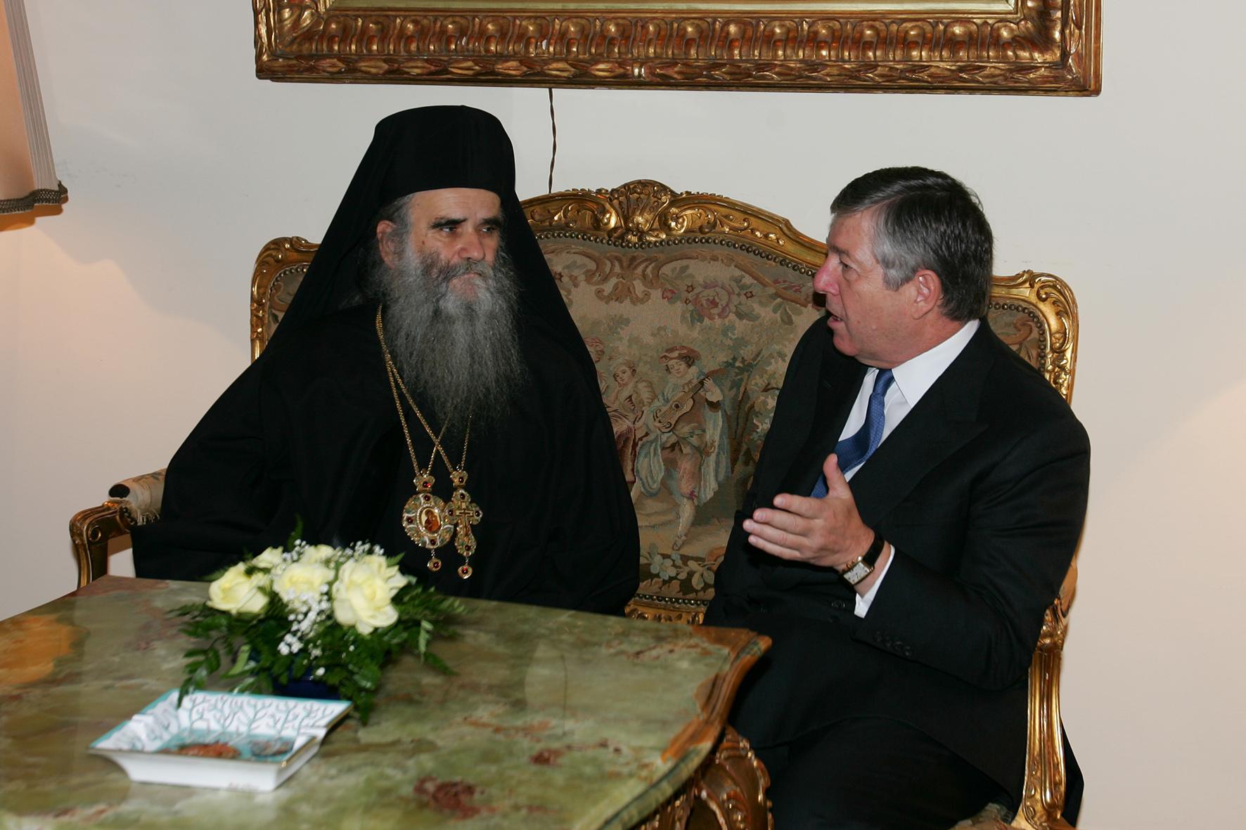 Њ.К.В. Престолонаследник Александар са покојним Митрополитом црногорско-приморским Амфилохијем