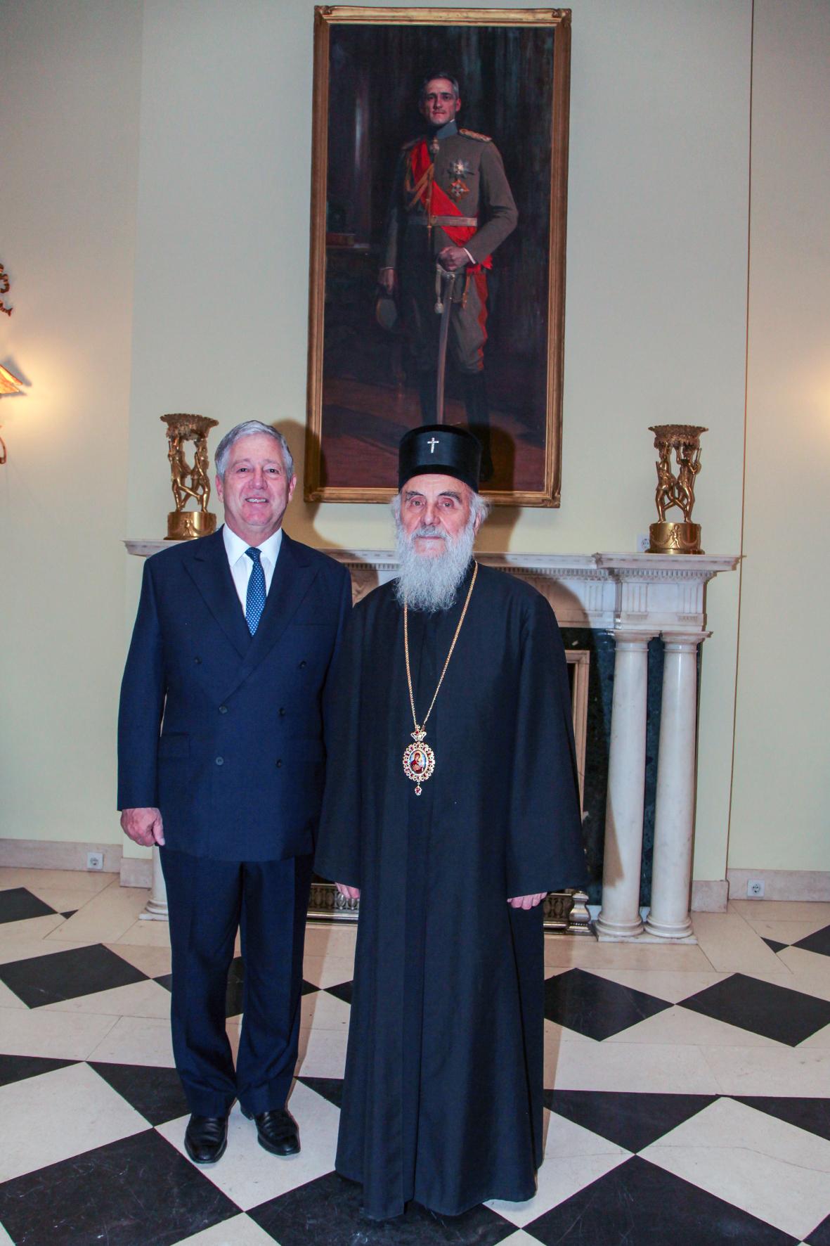 HRH Crown Prince Alexander with the late Serbian Patriarch Irinej