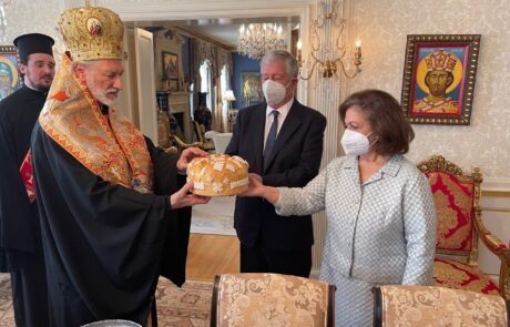 Crown Prince Alexander and Crown Princess Katherine with His Grace Bishop Irinej of Eastern America in New York