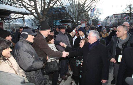 Crown Prince Alexander and Princess Katherine with people in Banja Luka, January 9, 2017