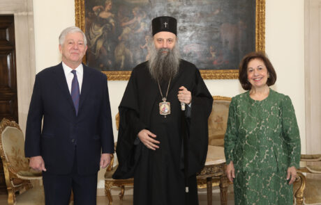 Their Royal Highnesses with Patriarch Porfirije