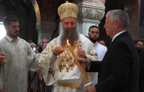 His Holiness Patriarch Porfirije of Serbia and HRH Crown Prince Alexander